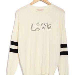Philosophy Love Striped Sleeve Crew Neck Sweater White Size XL